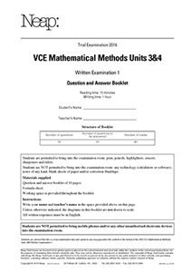 VCE Mathematical Methods Units 3&4 Trial Exam 1 (2016)